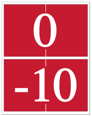 white numbers on a red background